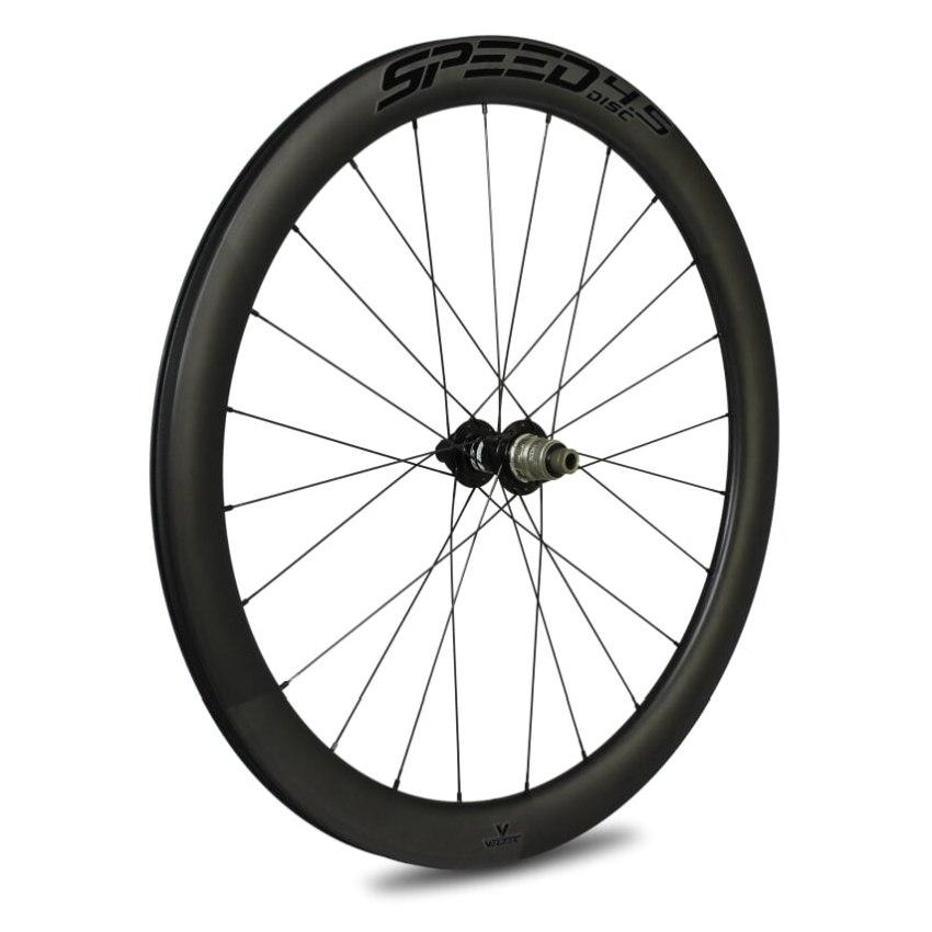 Veltec Speed 4.5 Disc Carbon Hinterrad - Drahtreifen - 12x142mm - schwarz mit schwarzen Decals