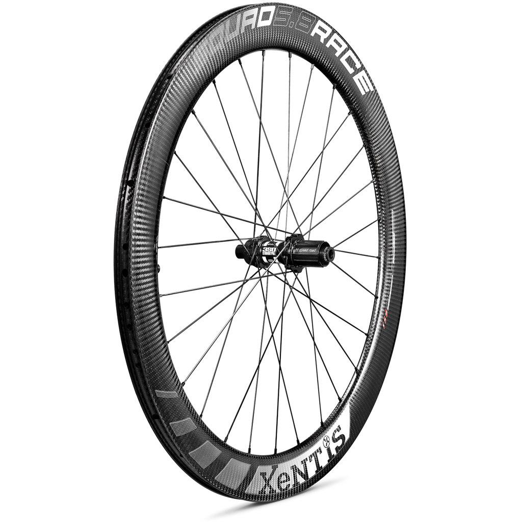 Image of Xentis Squad 5.8 Race Disc Brake - Carbon Wheelset - Clincher - Centerlock - FW: 12x100mm | RW: 12x142mm - matt black / white