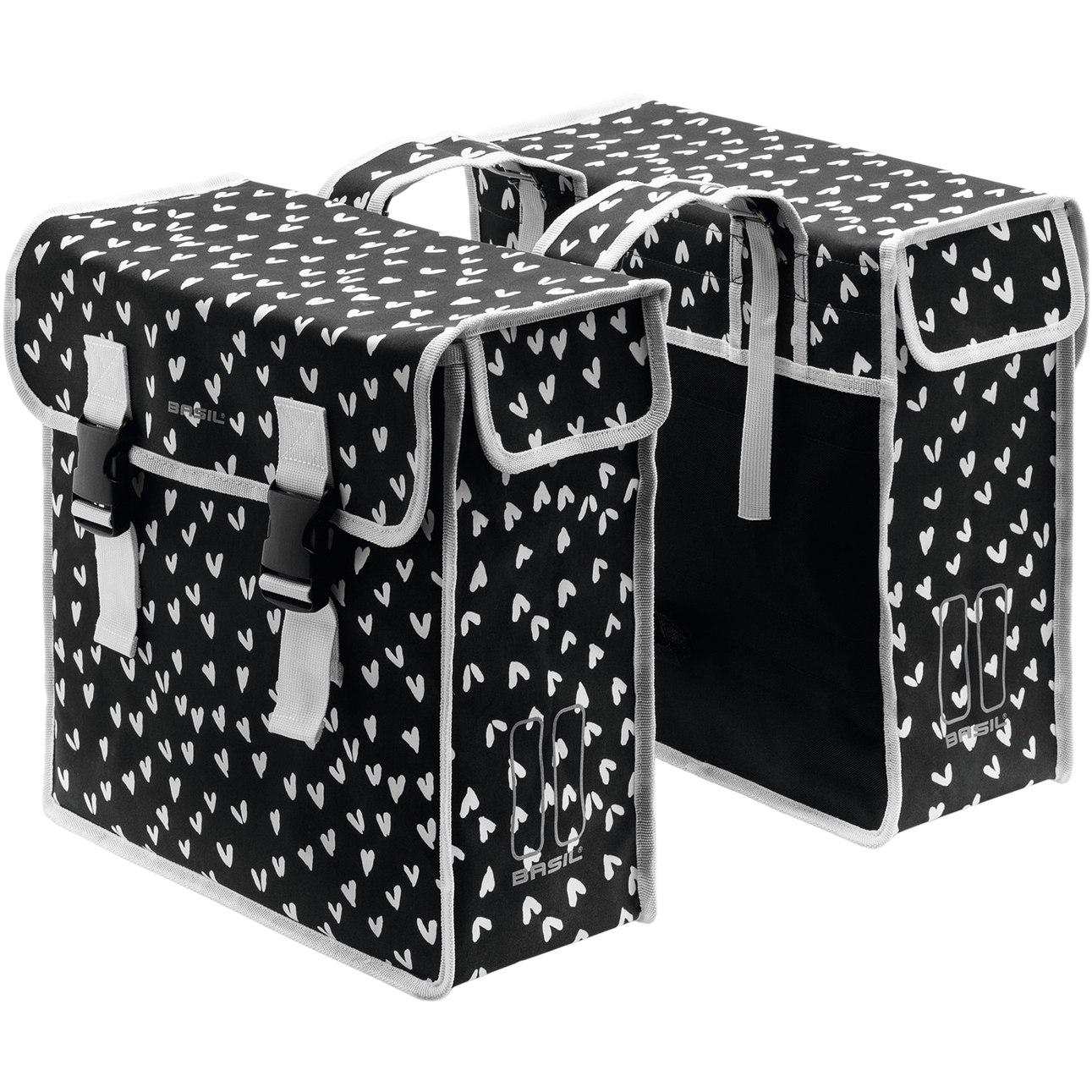 Image of Basil Mara XL Double Bike Bag - heart dots