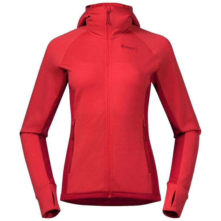 Bergans Cecilie Wool Hood Women's Jacket - light dahlia red/dahlia red