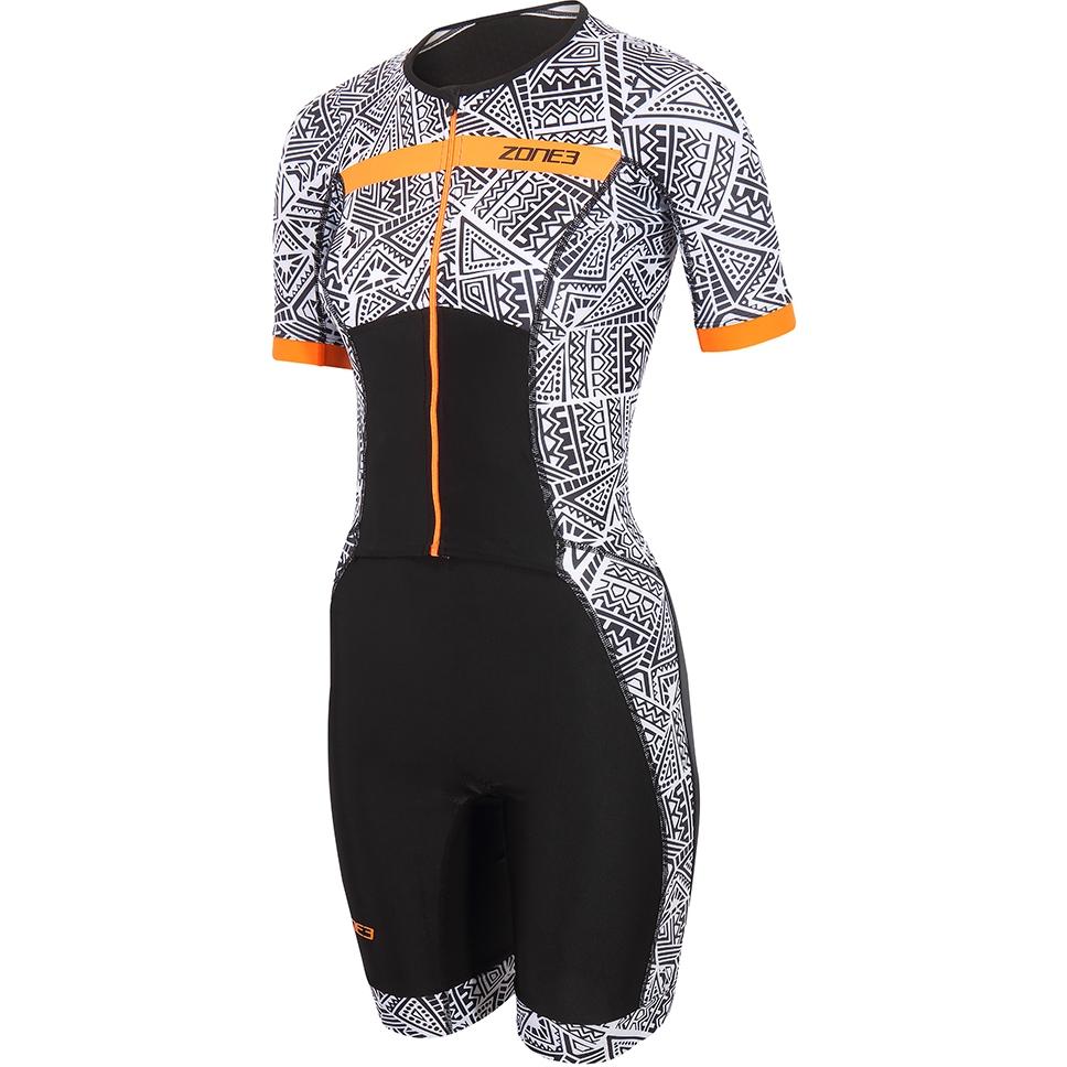 Zone3 Activate+ Kona Speed Damen Kurzarm Triathlonanzug - black/white/orange