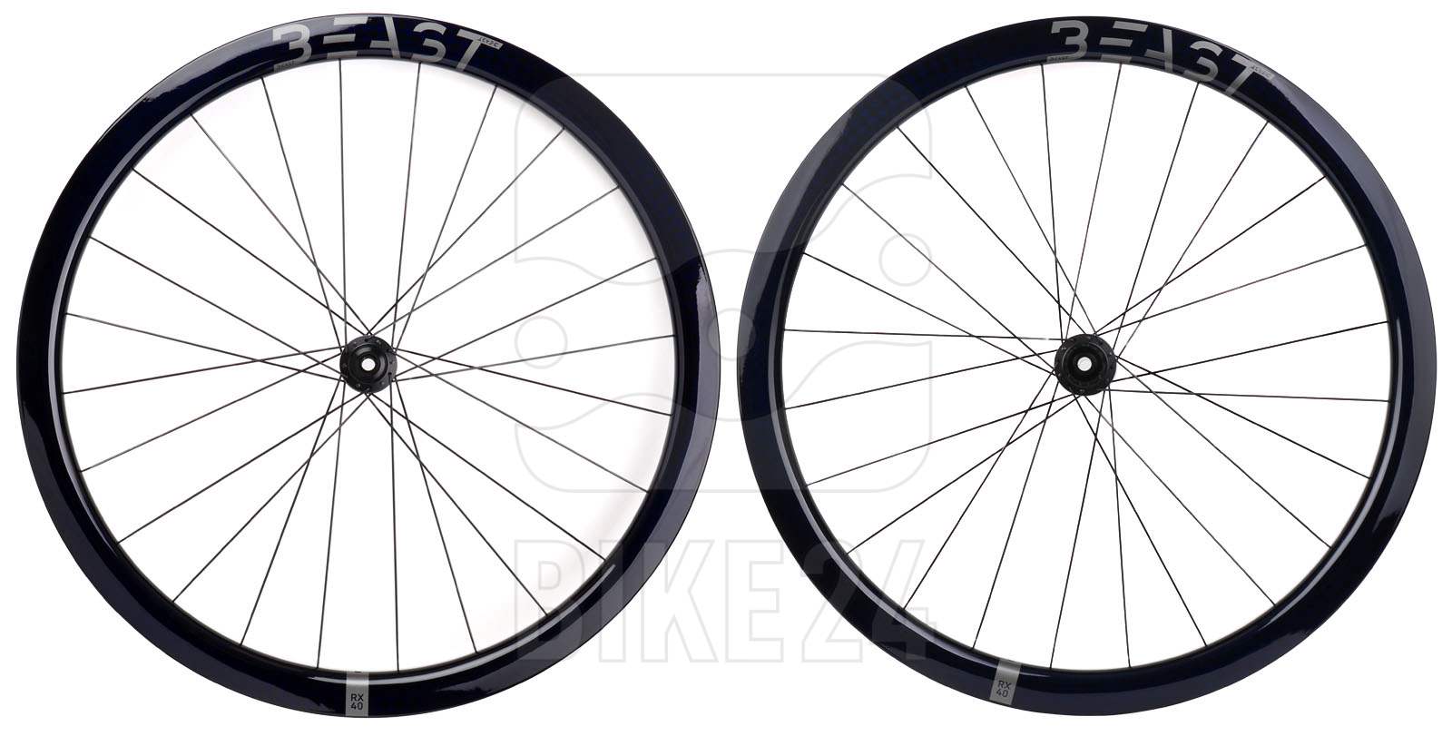 Beast Components RX40 + DT Swiss 240 Carbon Wheelset - Center Lock - FW: 12x100mm   RW: 12x142mm - SQUARE blue