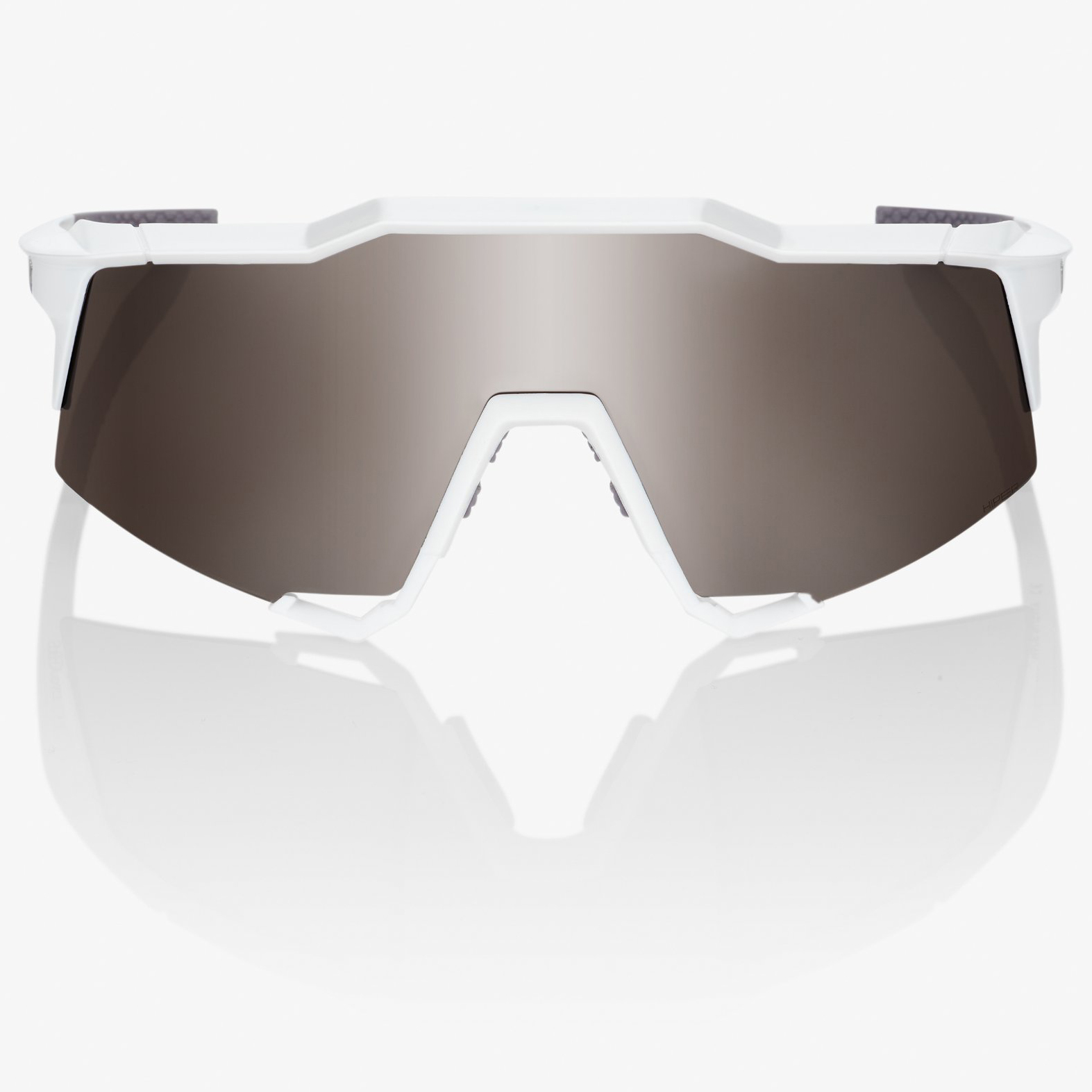 Image of 100% Speedcraft - Tall - HiPER Mirror Glasses - Matte White/Silver + Clear