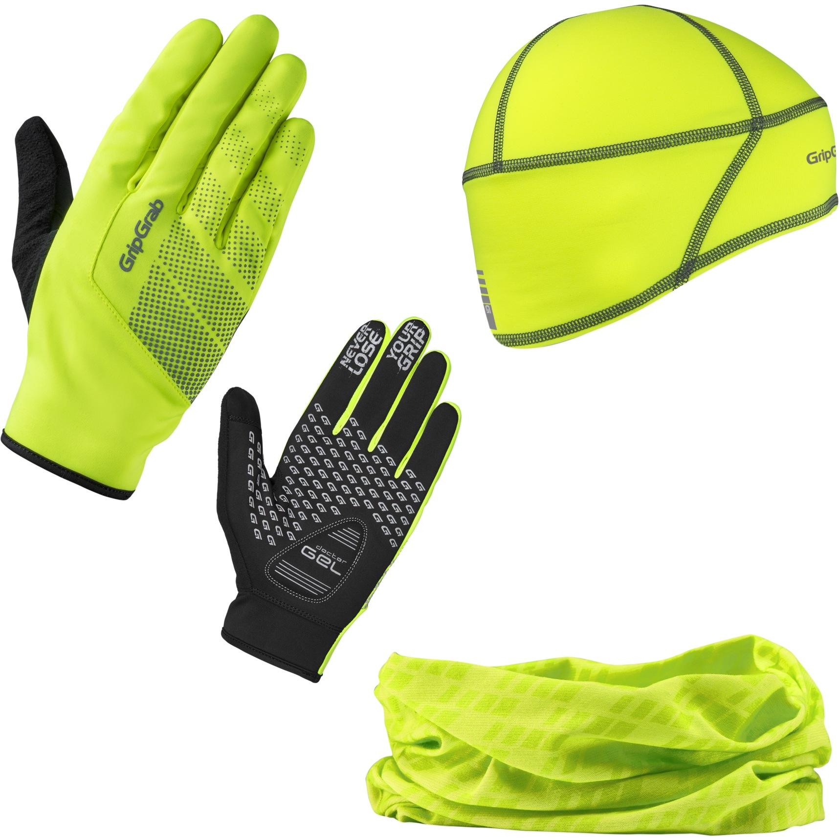 Produktbild von GripGrab Hi-Vis Cycling Essentials Geschenkbox - yellow hi-vis