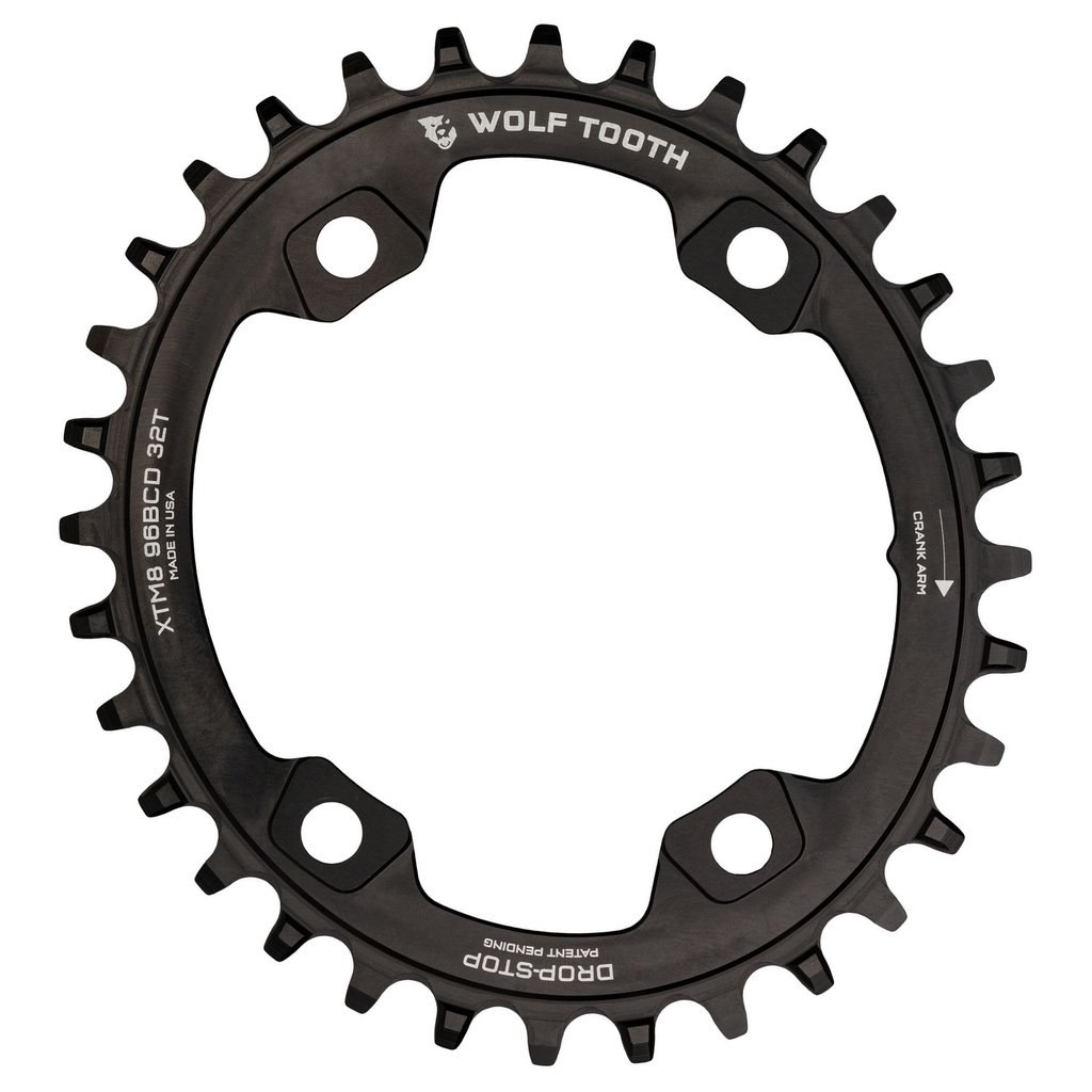 Wolf Tooth Elliptical - Single Chainring 96mm for Shimano XT M8000 / M8020 / SLX M7000 - Drop Stop - black