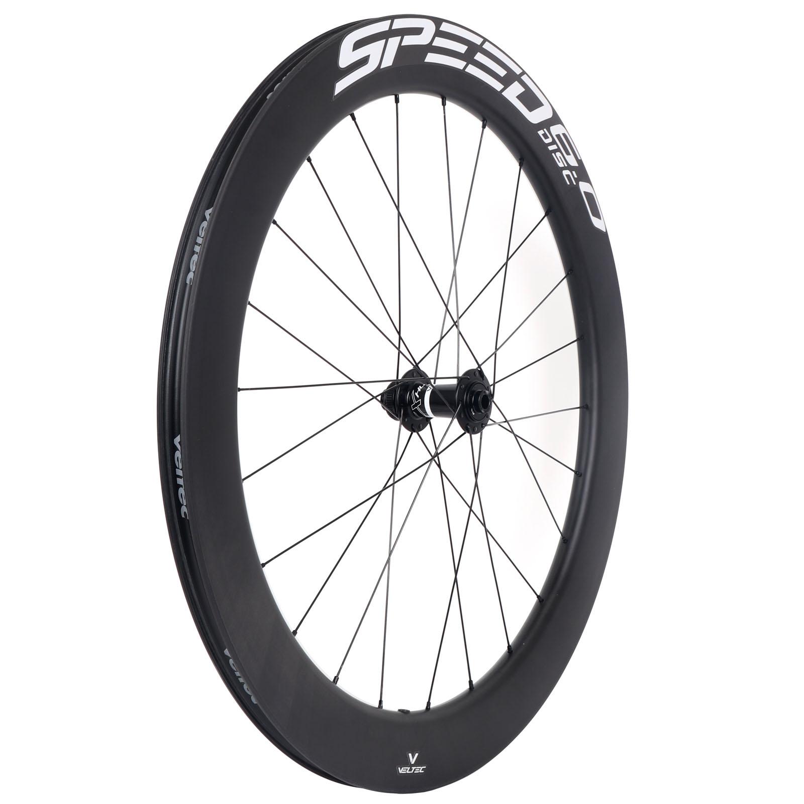 Bild von Veltec Speed 6.0 Disc Carbon Vorderrad - Drahtreifen - 12x100mm - schwarz mit weißen Decals