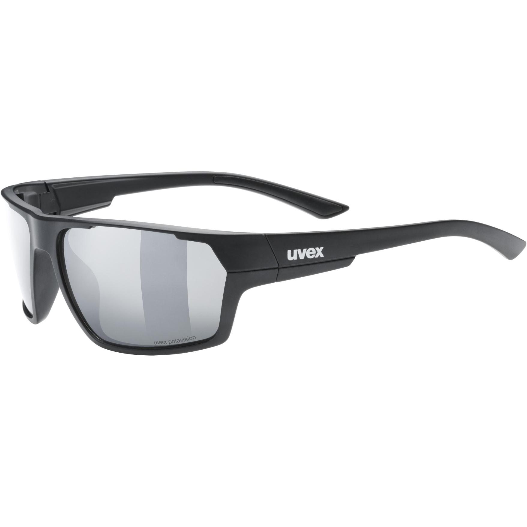 Uvex sportstyle 233 P Glasses - black mat/polavision litemirror silver