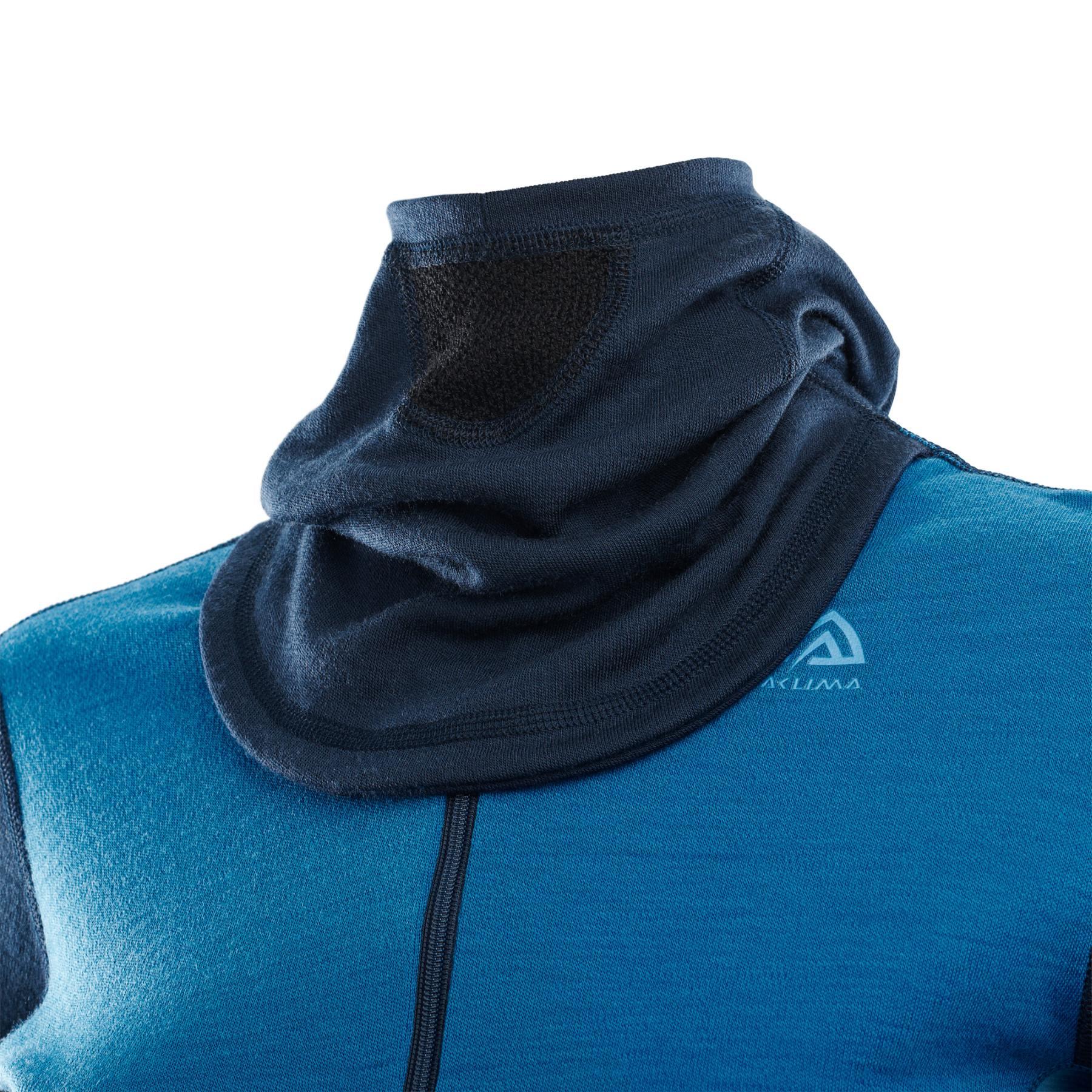 Image of Aclima Warmwool Women's Hood Sweater with Zipper - navy blazer/blue sapphire/azure blue