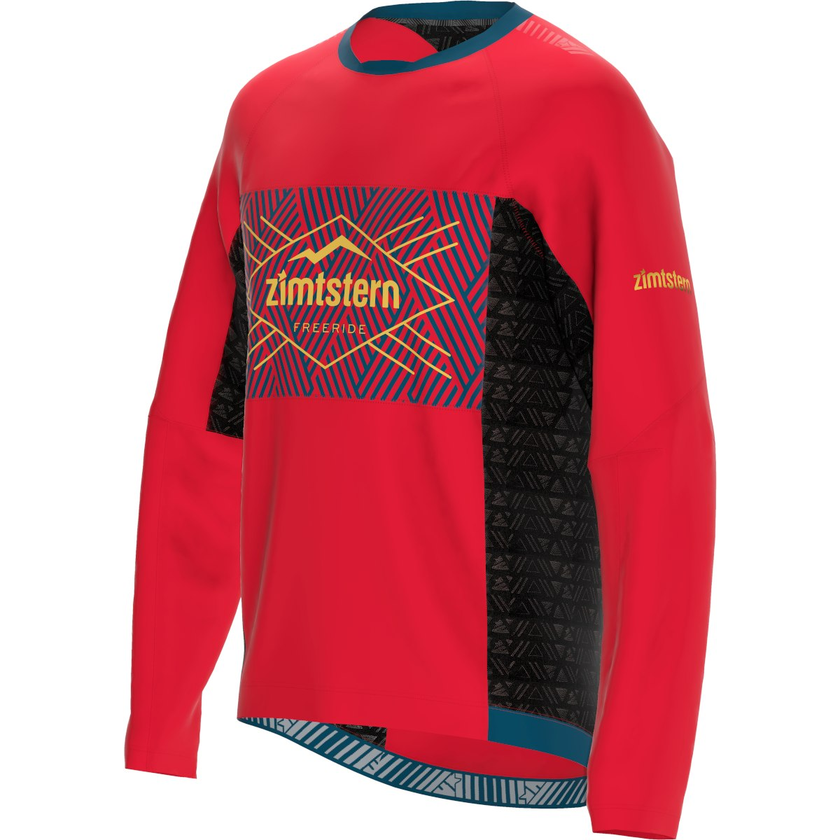 Image of Zimtstern TechZonez Long Sleeve Shirt - cyber red/french navy/mimosa