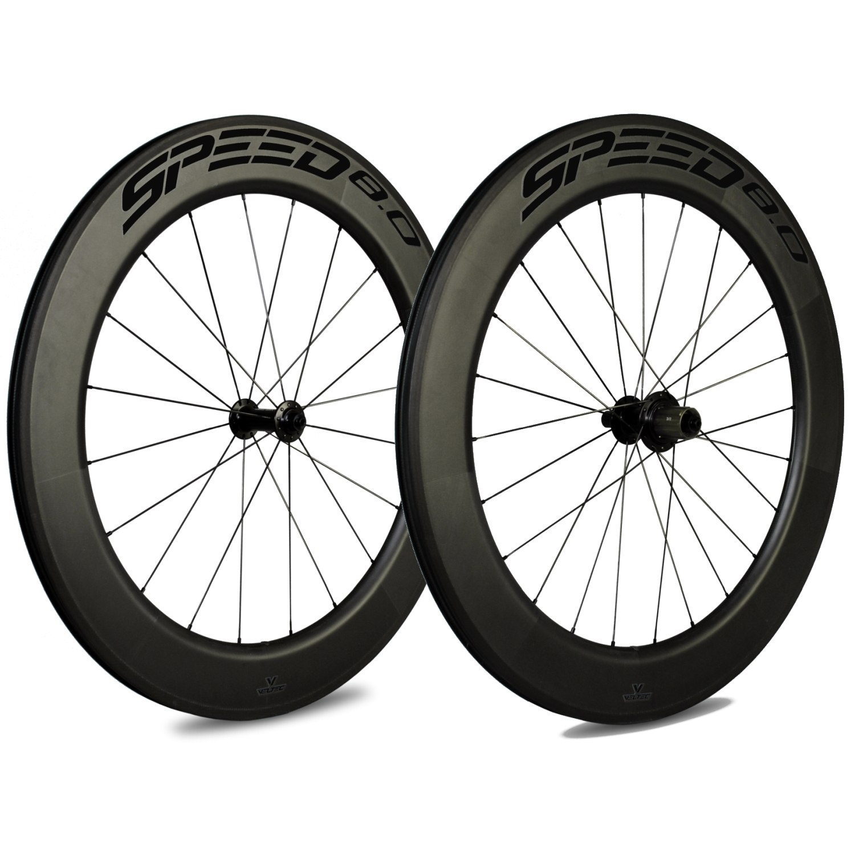 Veltec Speed 8.0 Carbon Laufradsatz - Drahtreifen - QR100/QR130 - schwarz mit schwarzen Decals