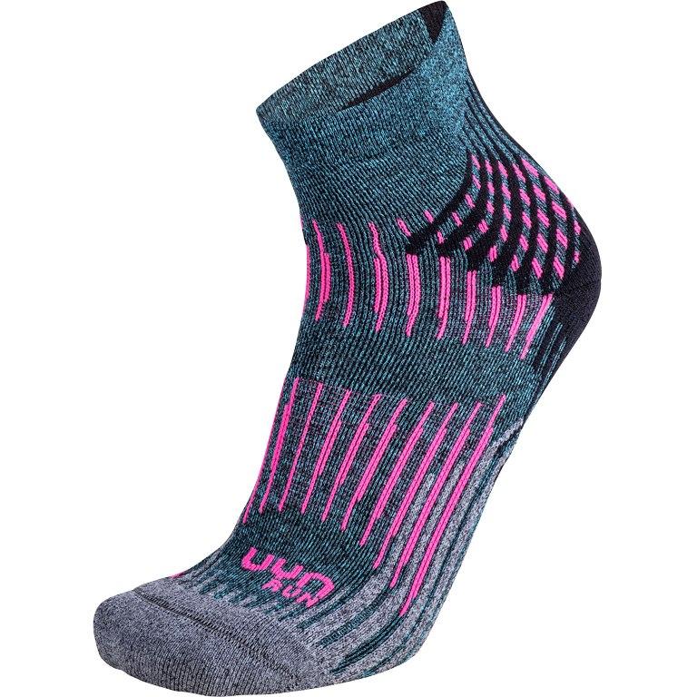 UYN Run Shockwave Socken Damen - turquoise melange/grey/pink