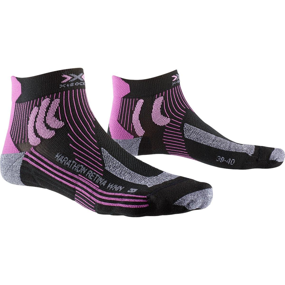 X-Socks Marathon Retina Laufsocken für Damen - black/twyce purple