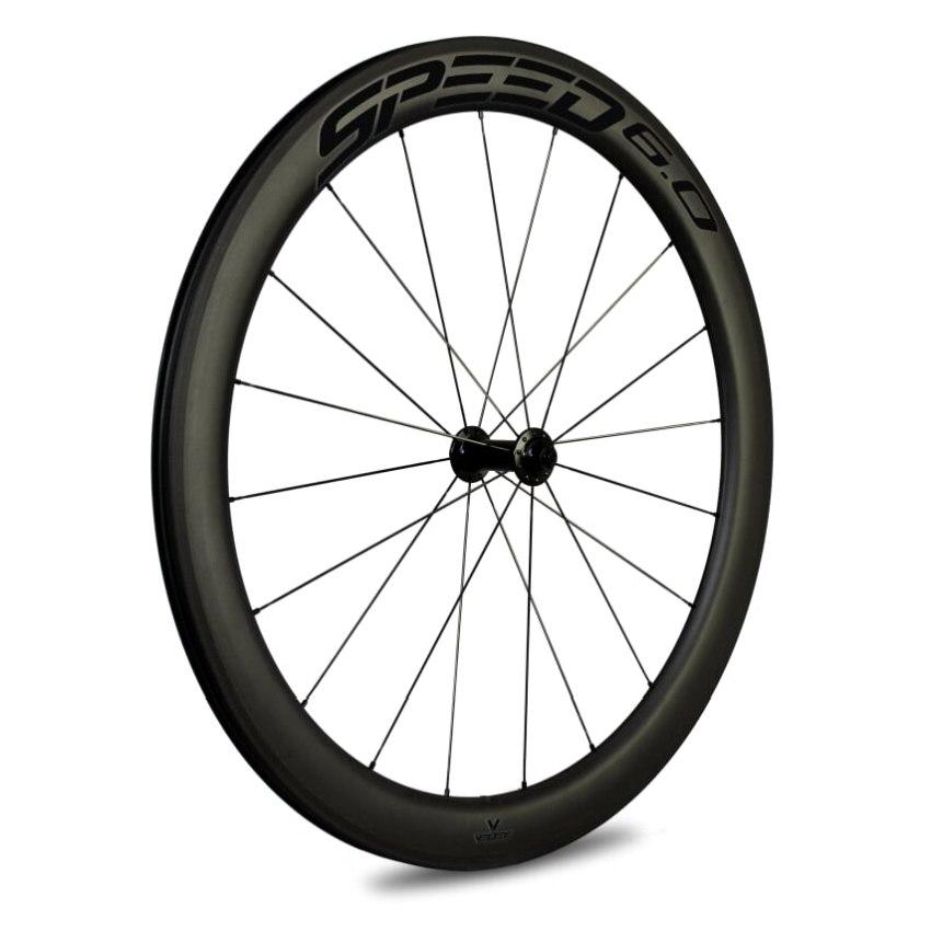 Veltec Speed 6.0 Carbon Vorderrad - Drahtreifen - QR100 - schwarz mit schwarzen Decals