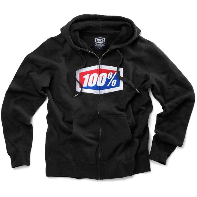 100% Official Zip Hooded Sweatshirt - Black