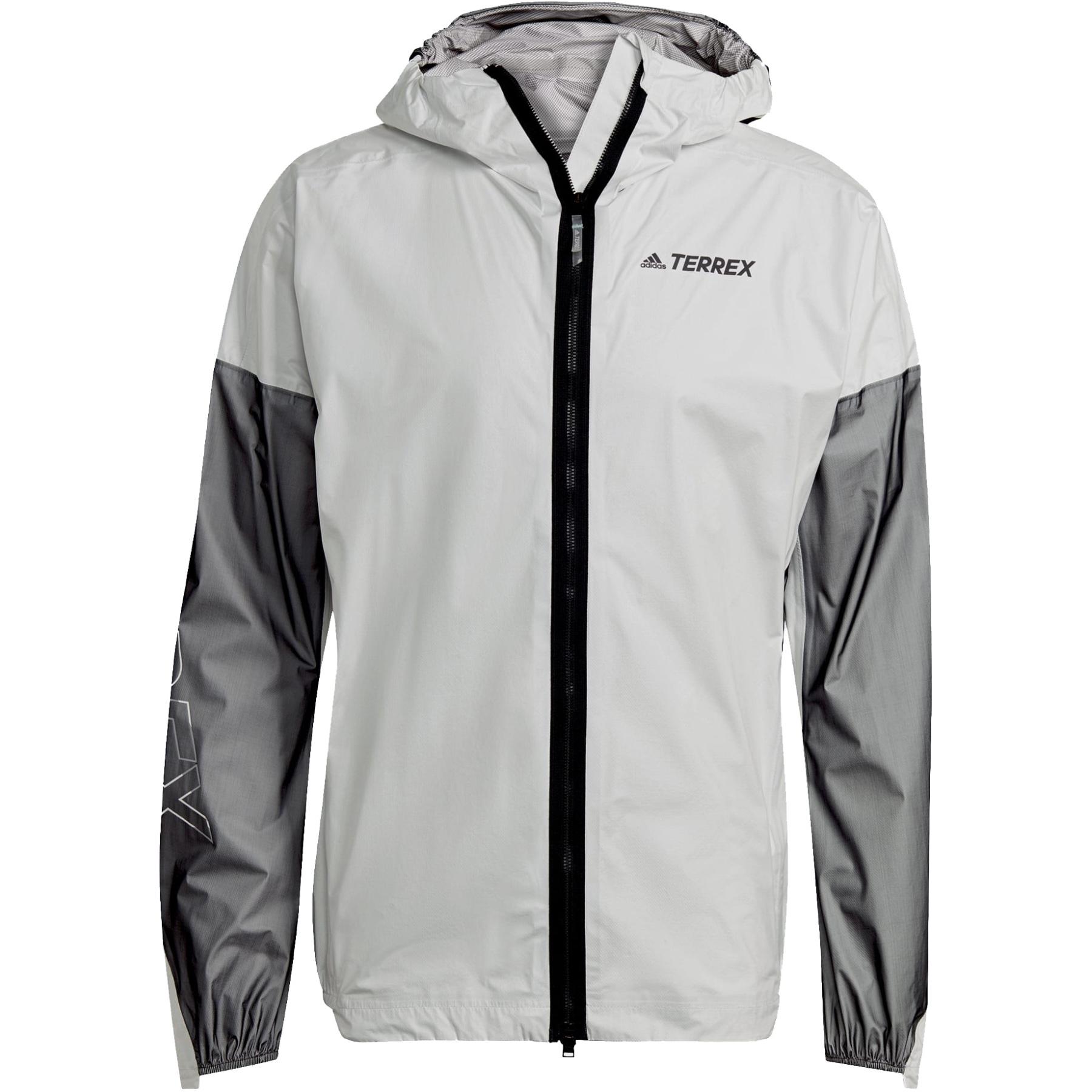 adidas Men's TERREX Agravic Pro Trail Running Rain Jacket - white/black GP3324
