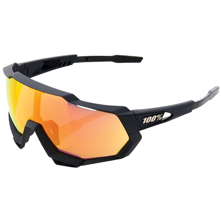 100% Speedtrap HD Multilayer Mirror Lens / Hiper Lens Gafas - Soft Tact Black/Red