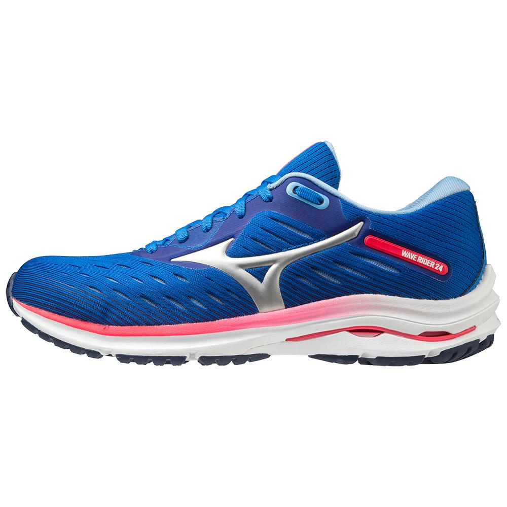Mizuno Wave Rider 24 Women's Running Shoes - Princess Blue/Silver/Diva Pink