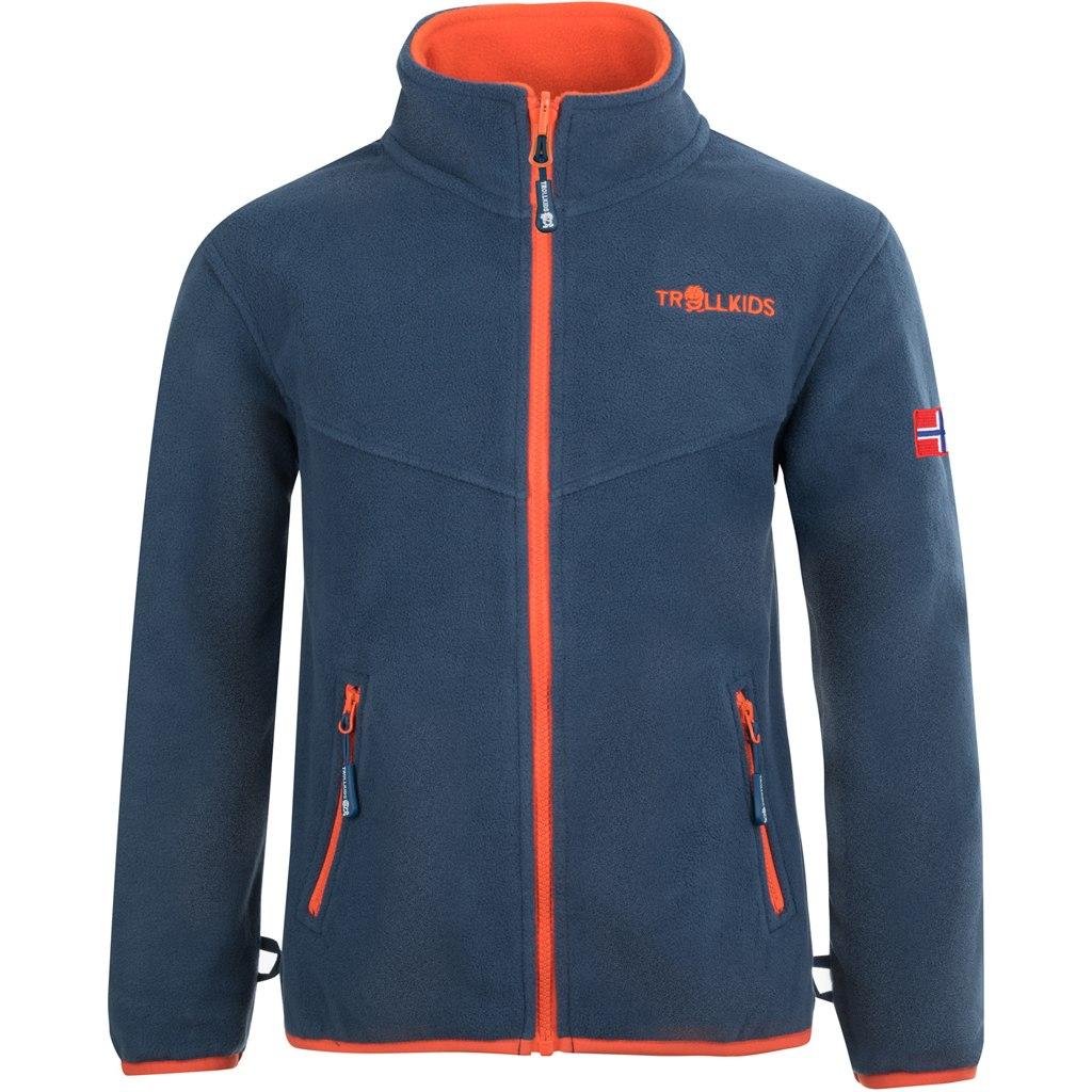 Produktbild von Trollkids Oppdal XT Kinder Fleece-Jacke - Mystic Blue/Orange