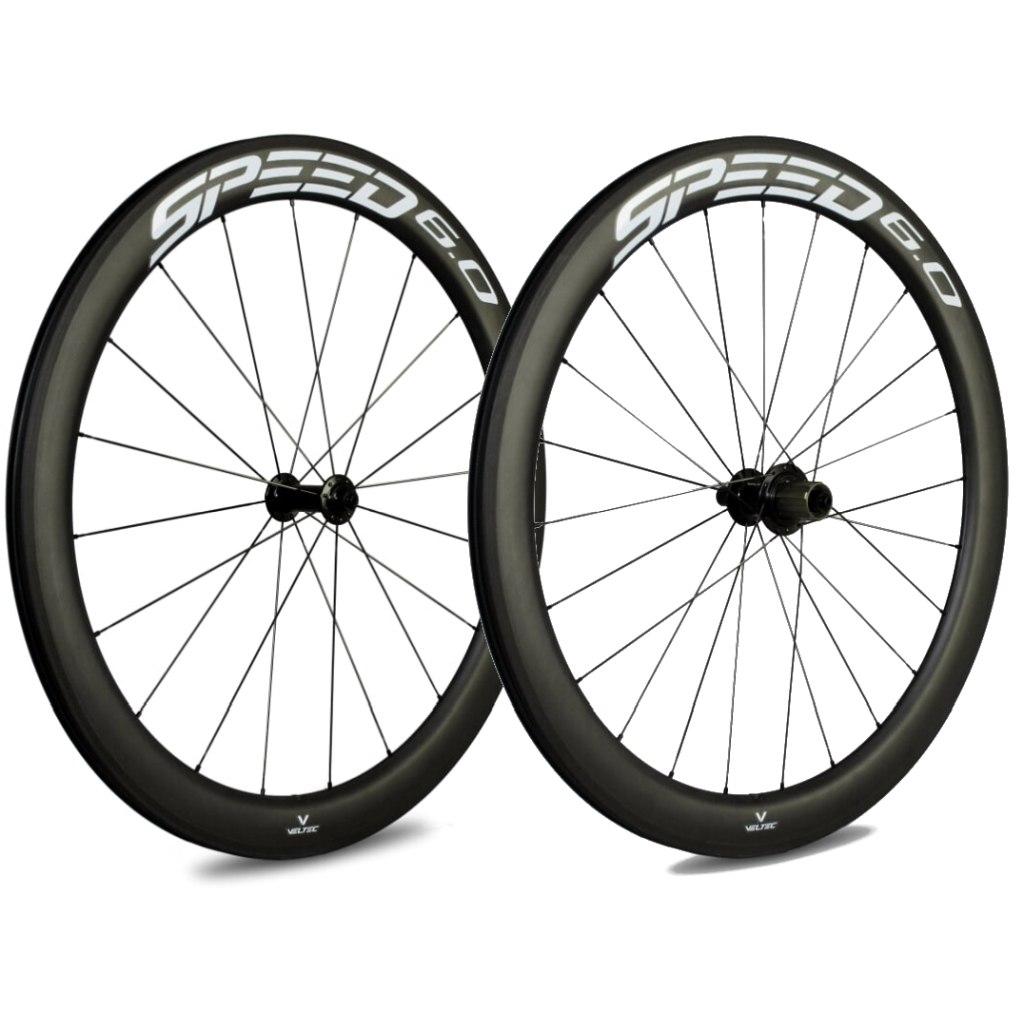 Bild von Veltec Speed 6.0 Carbon Laufradsatz - Drahtreifen - QR100/QR130 - schwarz mit weißen Decals