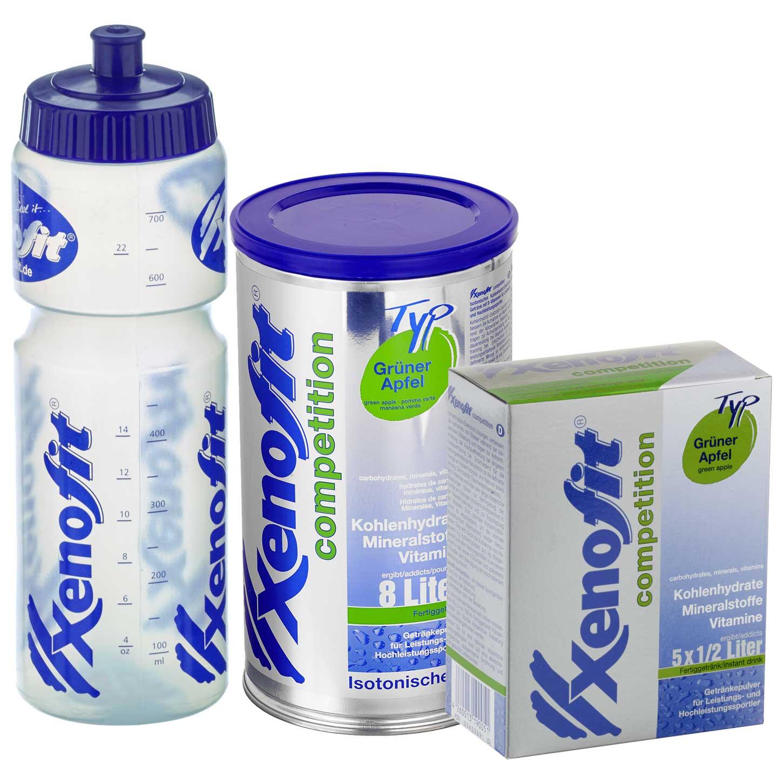Bild von Xenofit Competition Grüner Apfel - Isotonisches Kohlenhydrat-Getränk - Vorteilspack + Trinkflasche