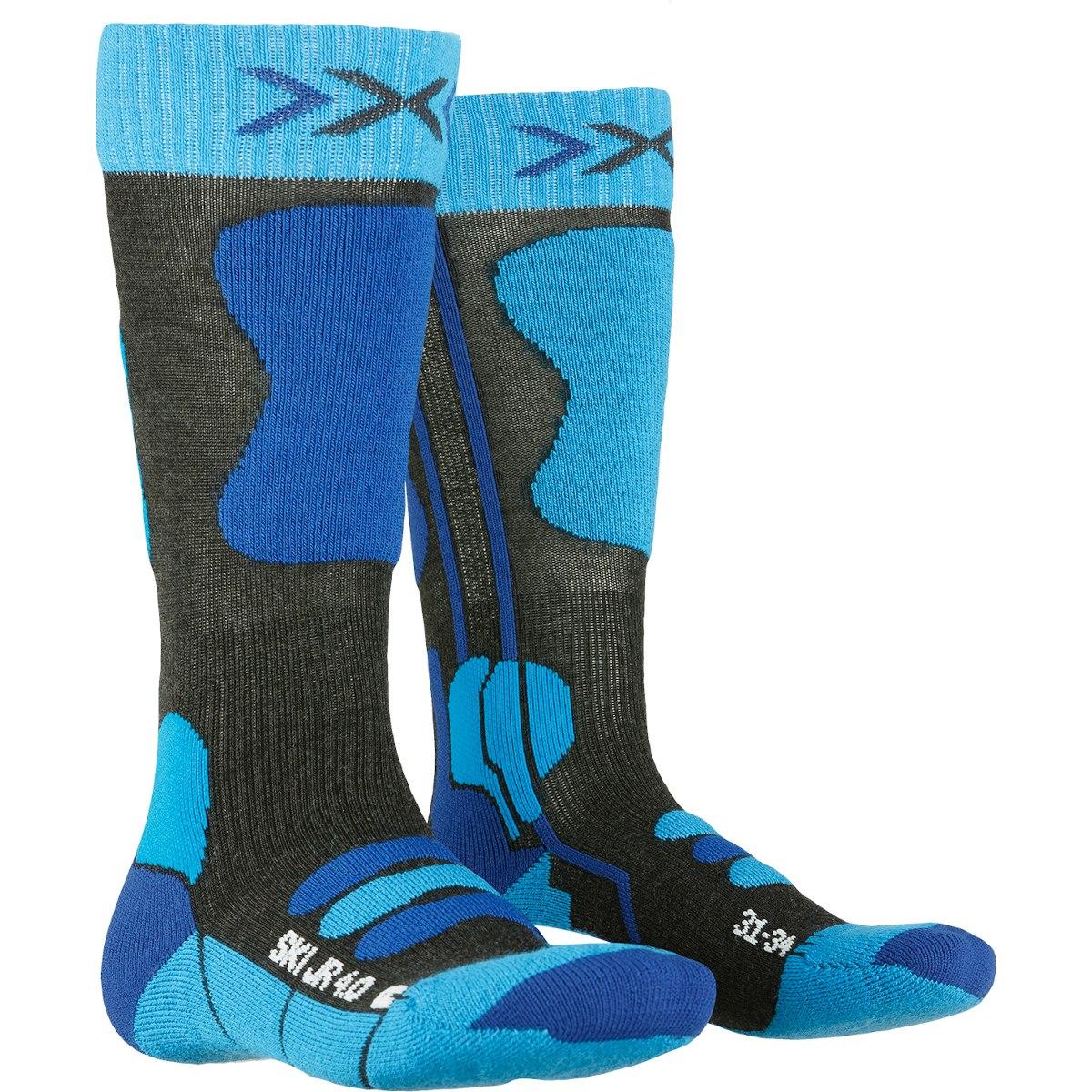 X-Socks Ski Junior 4.0 Kindersocken - anthracite melange/electric blue
