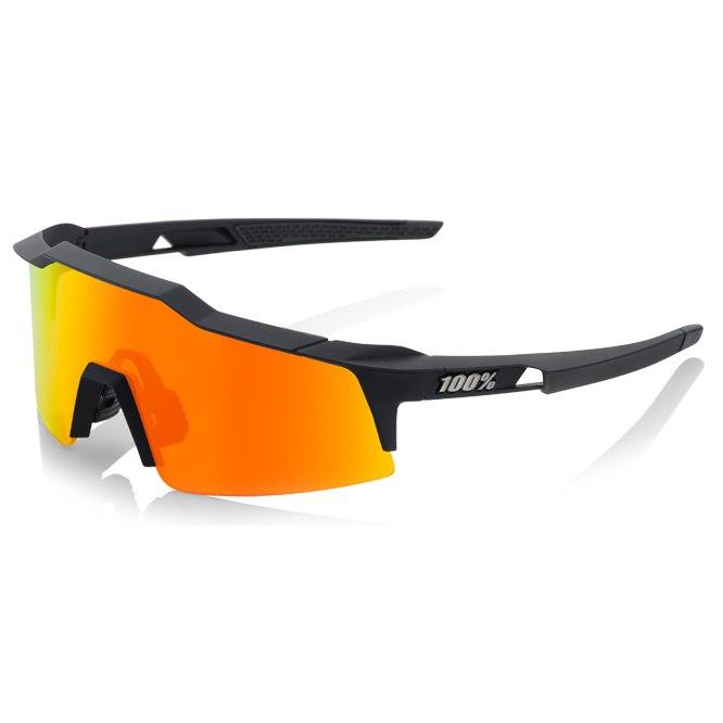 100% Speedcraft Small HiPer Mirror Lense Glasses - Soft Tact Black