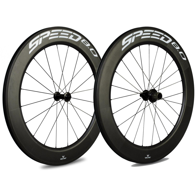 Veltec Speed 8.0 Carbon Laufradsatz - Drahtreifen - QR100/QR130 - schwarz mit weißen Decals