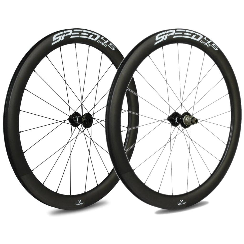 Veltec Speed 4.5 Disc Carbon Laufradsatz - Drahtreifen - 12x100mm / 12x142mm - schwarz mit weißen Decals
