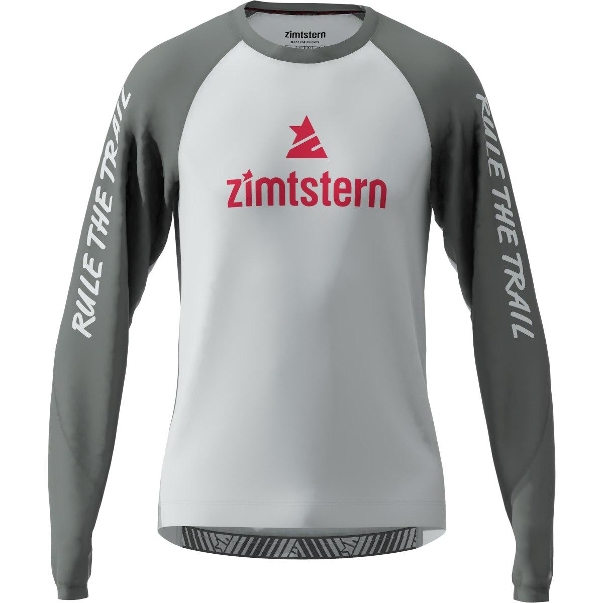 Zimtstern PureFlowz Long Sleeve MTB Shirt - glacier grey/gun metal/jester red