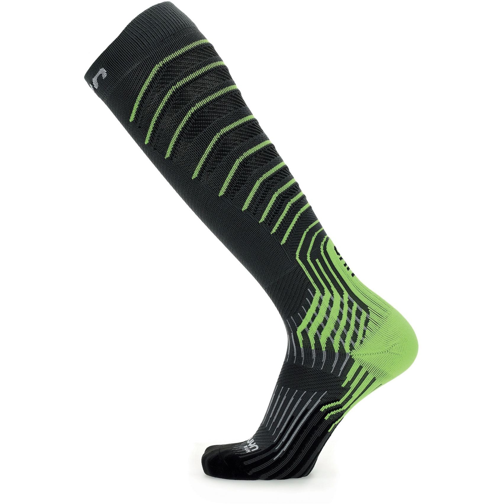 Image of UYN Run Onepiece 0.0 Compression Socks - Grey/Lime