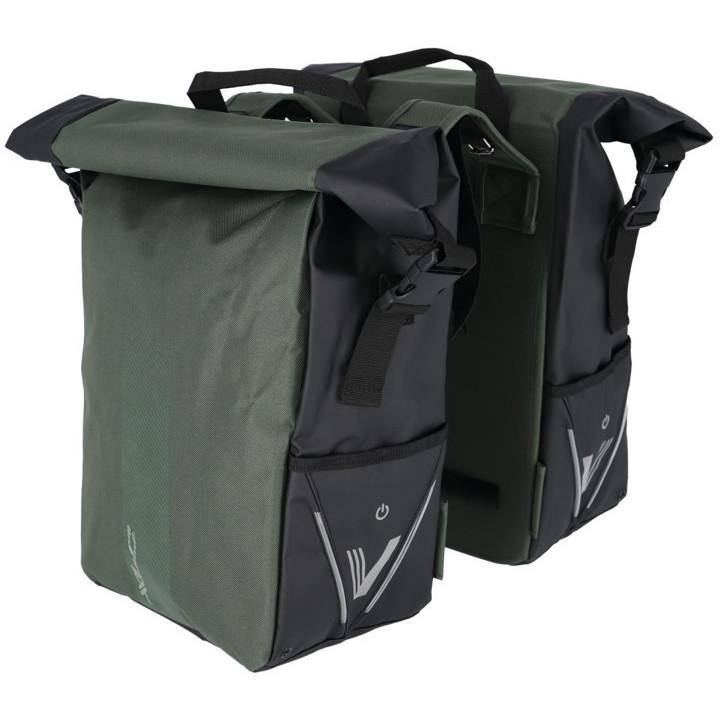 XLC V-Light Rolltop Gepäckträgertasche - Doppelt - dunkelgrün