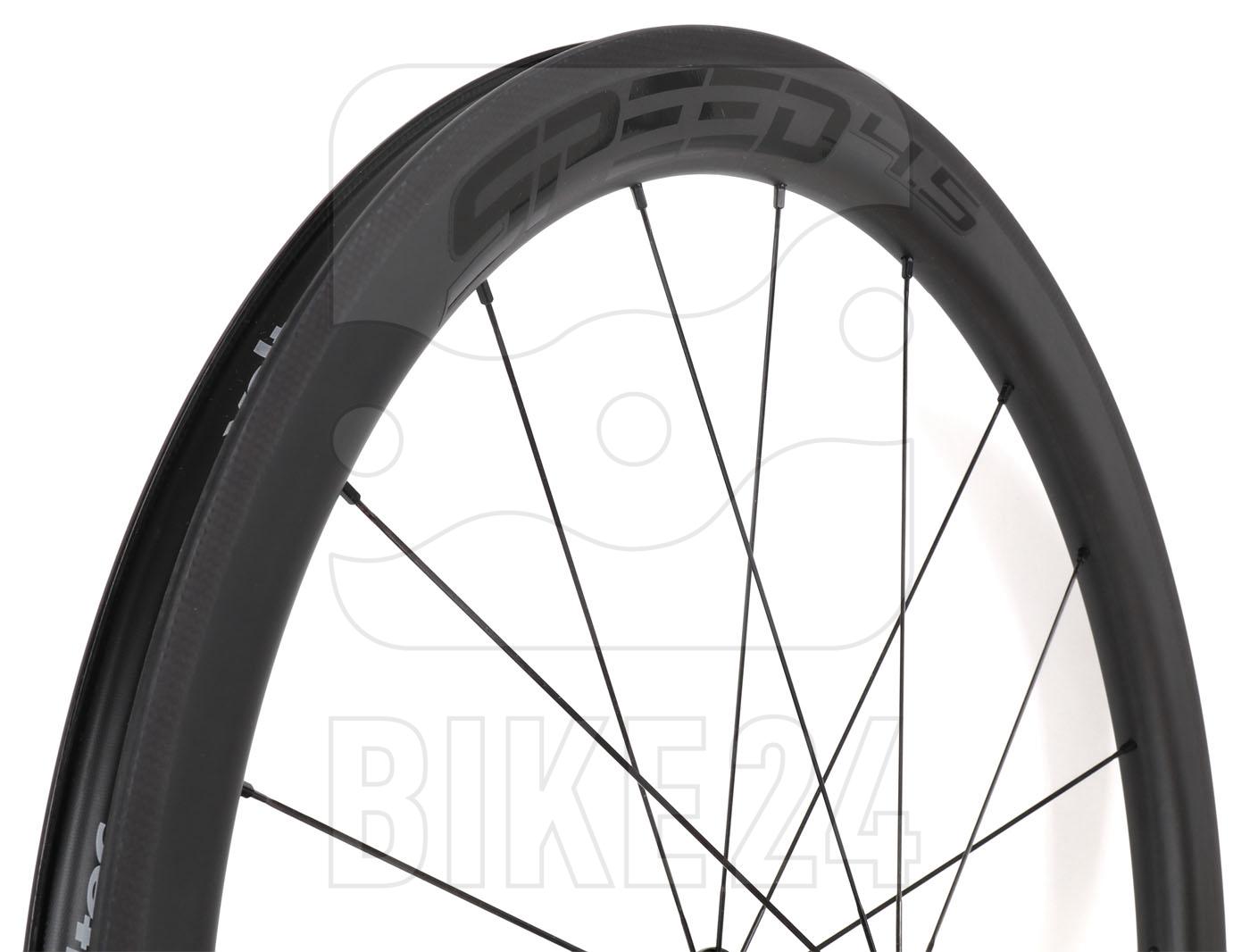 Bild von Veltec Speed 4.5 Carbon Hinterrad - Drahtreifen - QR130 - schwarz mit schwarzen Decals