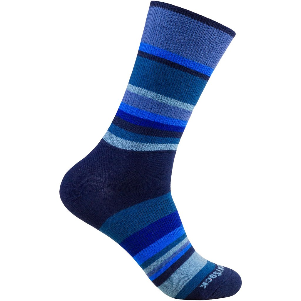 WRIGHTSOCK Stride Crew Double Layer Socks - navy stripes - 826-52