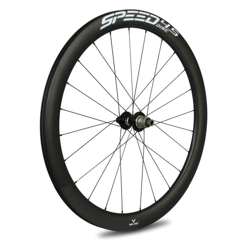 Veltec Speed 4.5 Disc Carbon Hinterrad - Drahtreifen - 12x142mm - schwarz mit weißen Decals