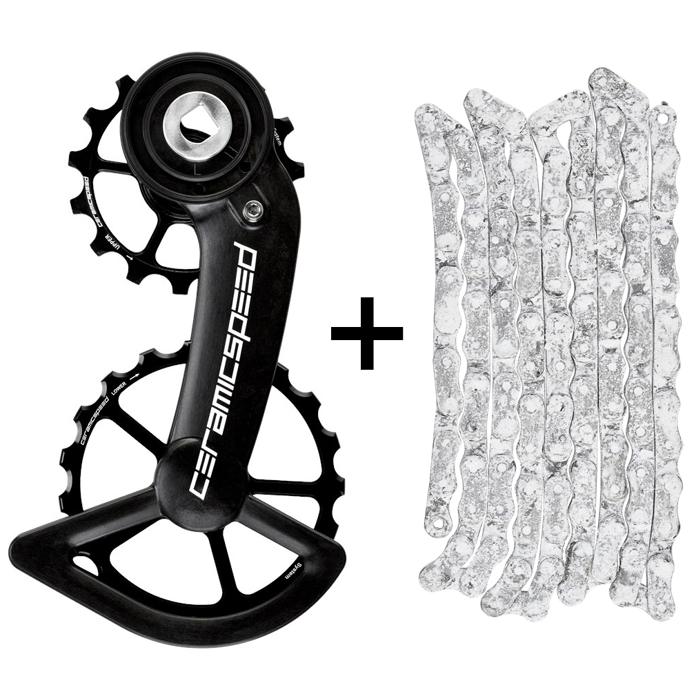 Image of CeramicSpeed Coated OSPW Derailleur Pulley System & UFO Chain for SRAM Red / Force AXS - Black