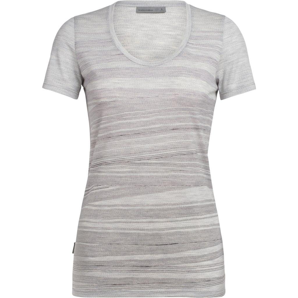 Icebreaker Tech Lite Scoop 1000 Lines Damen T-Shirt - Blizzard HTHR
