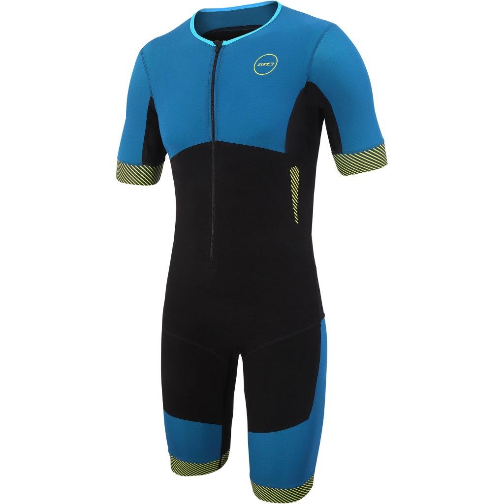 Zone3 Aeroforce Kurzarm Triathlonanzug - black/blue/yellow