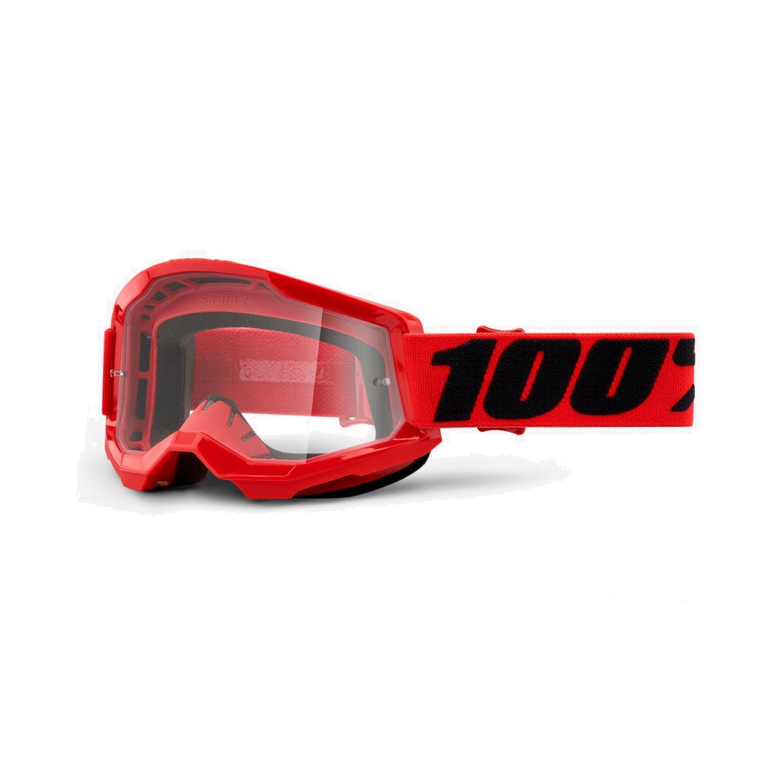 100% Strata 2 Youth Goggle Clear Lens Gafas para niños - Red