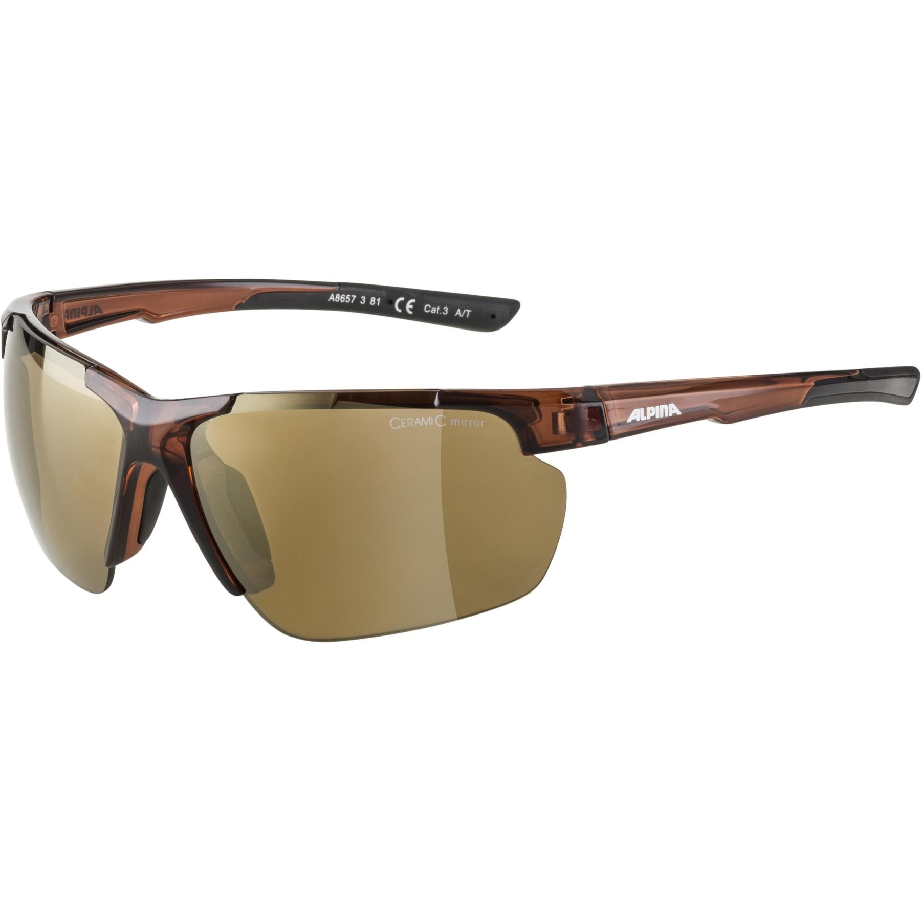 Alpina Defey HR Glasses - brown transparent matt / gold mirror