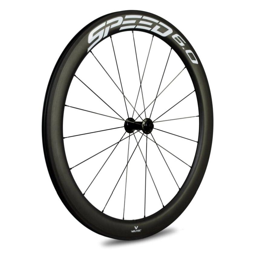Veltec Speed 6.0 Carbon Vorderrad - Drahtreifen - QR100 - schwarz mit weißen Decals