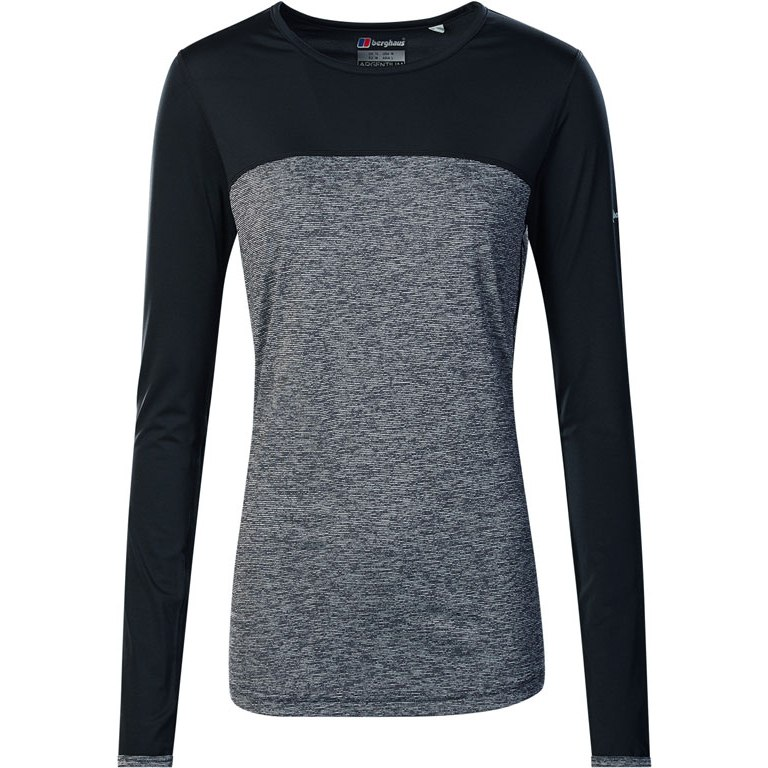 Berghaus Women's Voyager Tech Tee Long Sleeve Shirt Crew Baselayer - Carbon Marl/Jet Black AX5