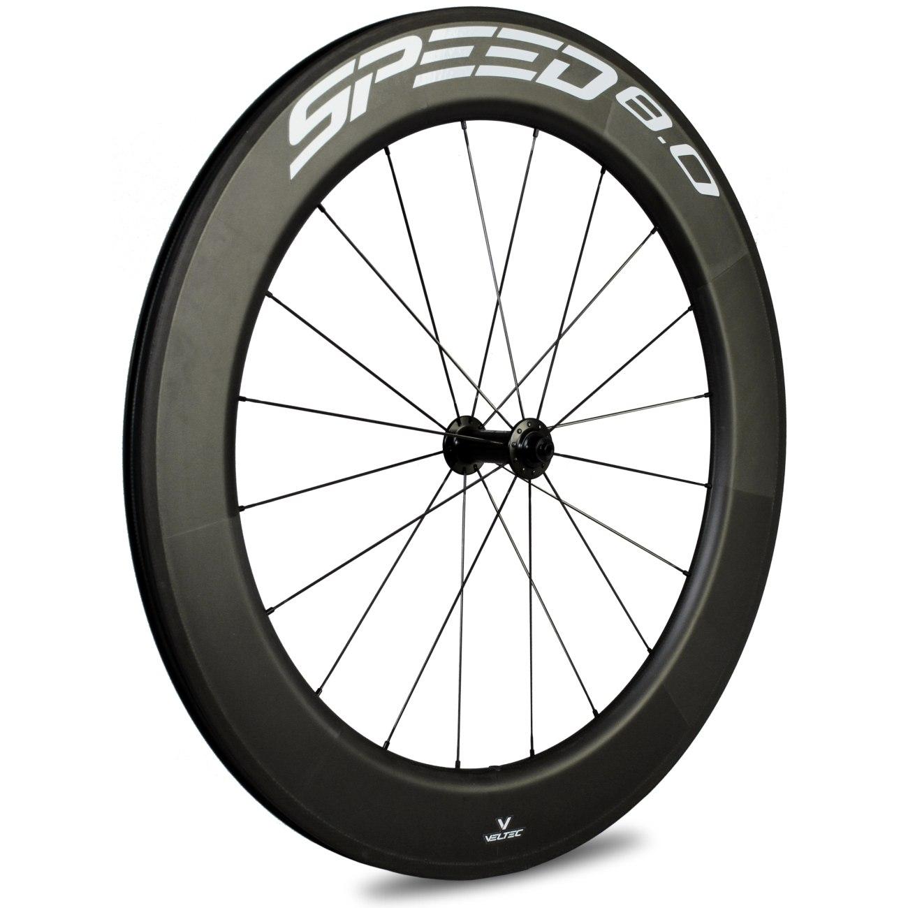 Veltec Speed 8.0 Carbon Vorderrad - Drahtreifen - QR100 - schwarz mit weißen Decals