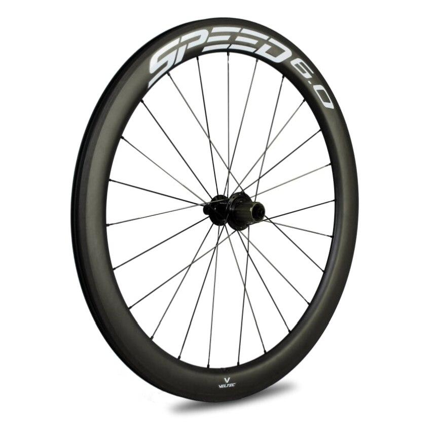Veltec Speed 6.0 Carbon Hinterrad - Drahtreifen - QR130 - schwarz mit weißen Decals