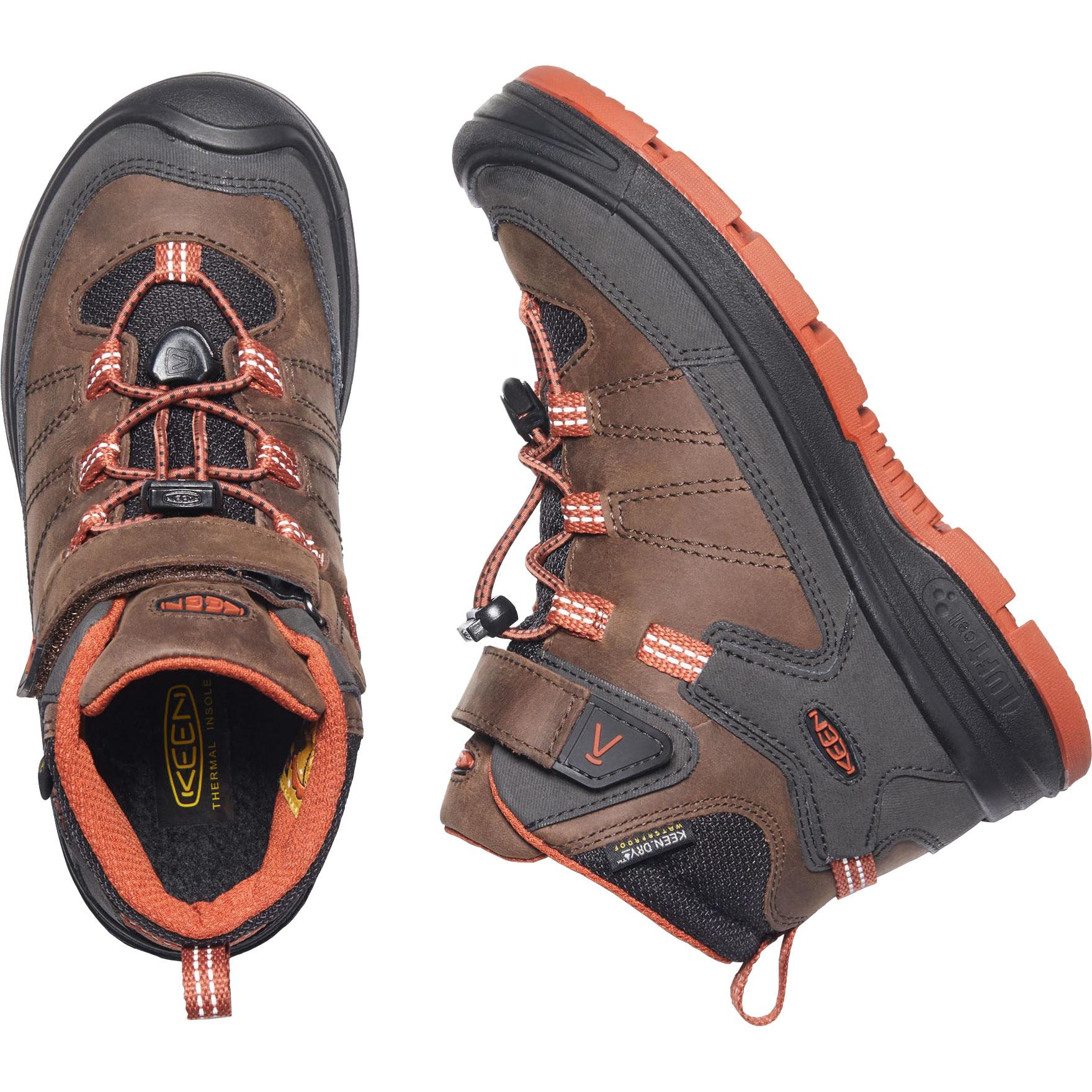 Image of KEEN Redwood Mid Waterproof Youth Shoe - Coffee Bean / Picante