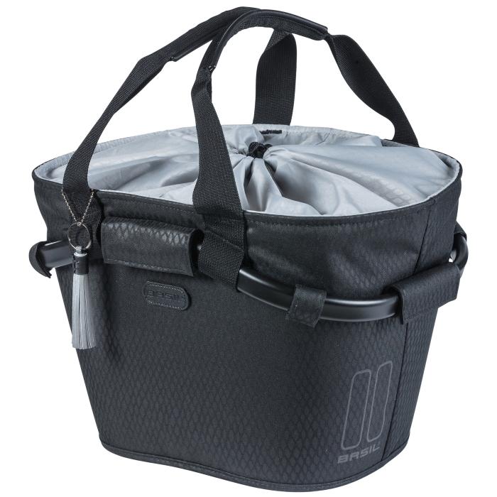 Image of Basil Noir Carry All Front Basket - black