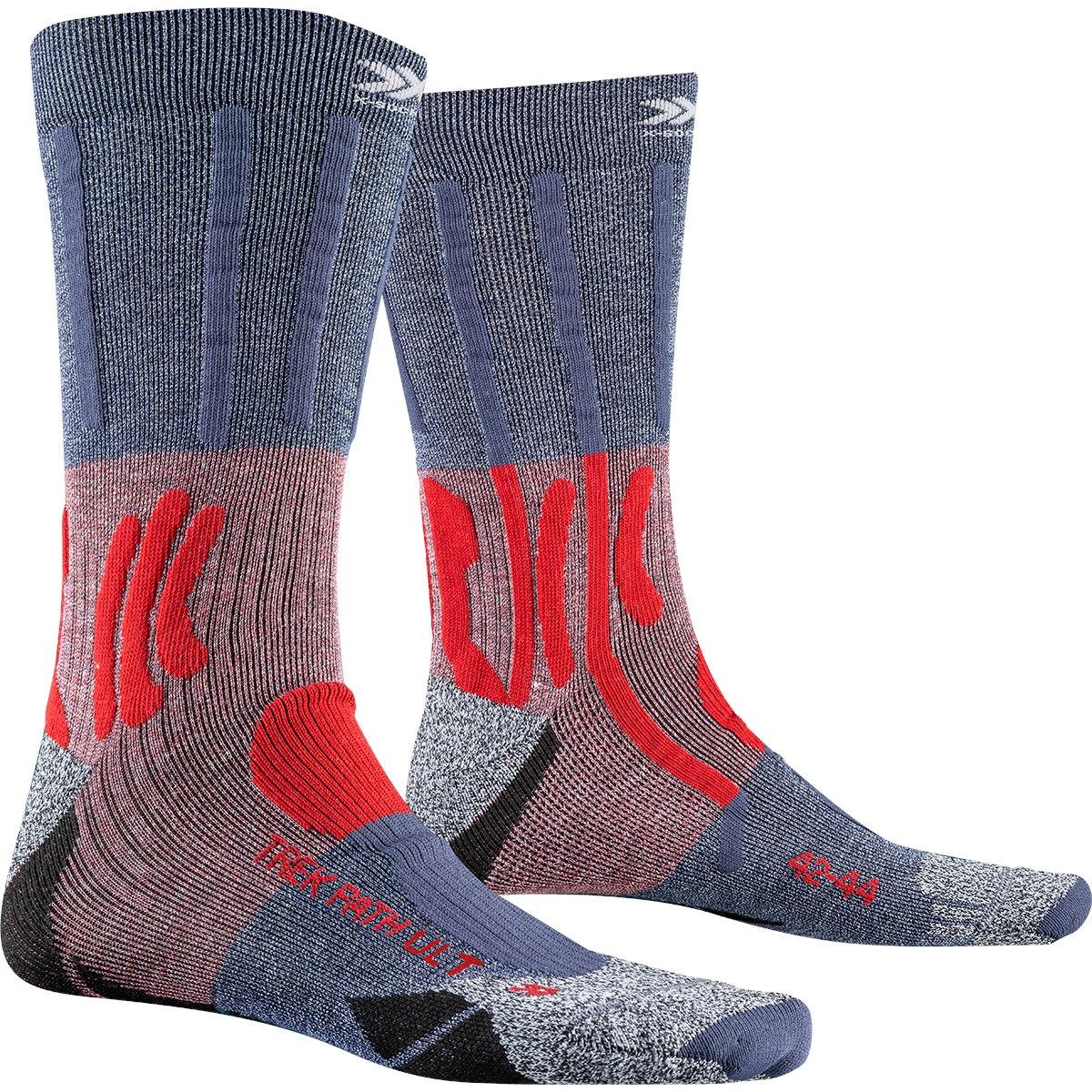 X-Socks Trek Path Ultra LT Socken - dolomite grey melange/namib red melange
