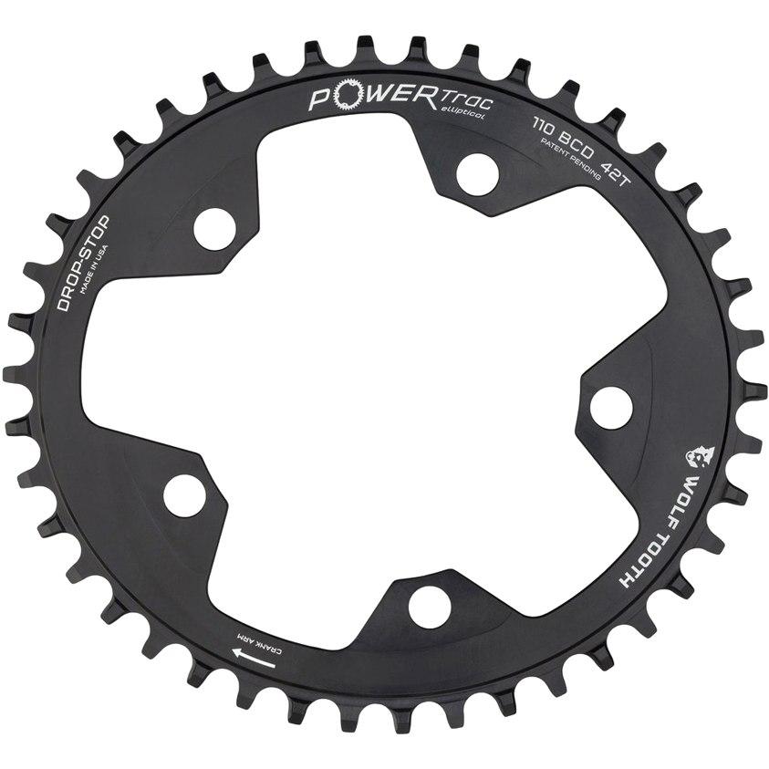 Bild von Wolf Tooth Elliptical Single Road/Cyclocross Flattop Kettenblatt 110mm - Drop Stop - schwarz