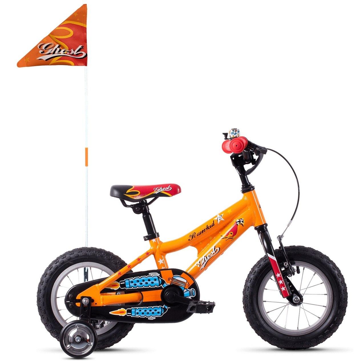 "Ghost POWERKID AL 12 K - 12"" Kids Bike - 2021 - juice orange / riot red / riot blue"