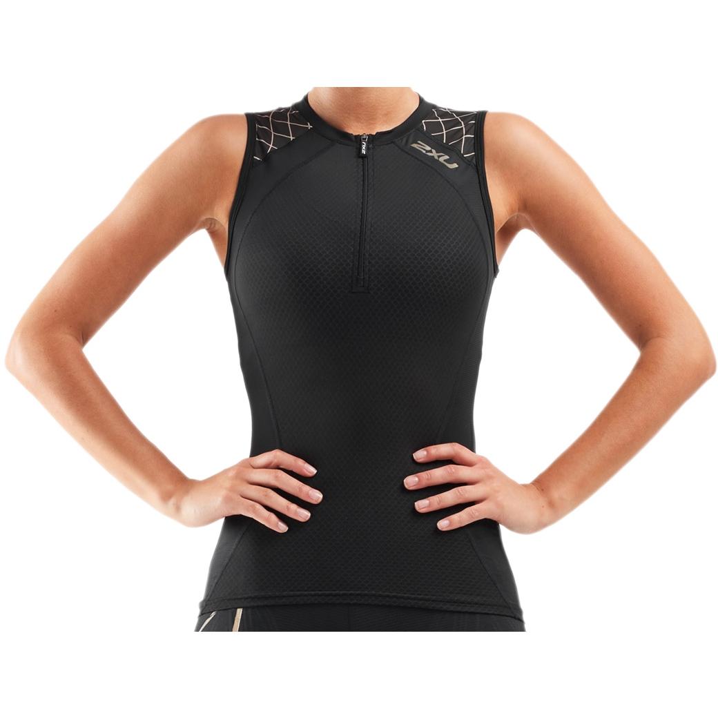 Imagen de 2XU Compression Tri Camiseta de tirantes para mujer - black/gold