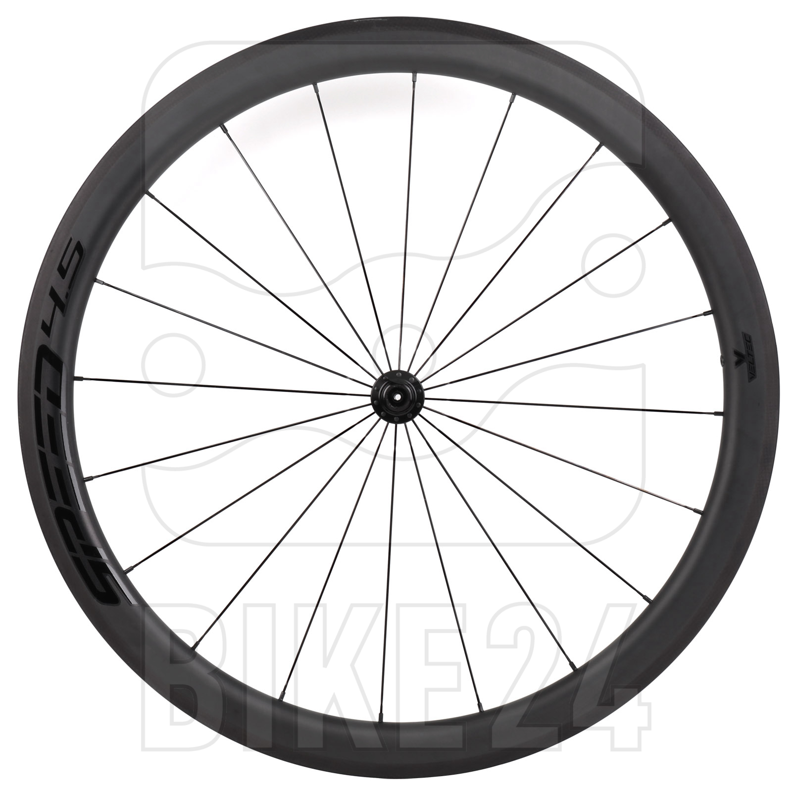 Bild von Veltec Speed 4.5 Carbon Laufradsatz - Drahtreifen - QR100/QR130 - schwarz mit schwarzen Decals